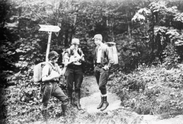 Norris, Robbins, and Kurth on the Long Trail north to Jay Peak